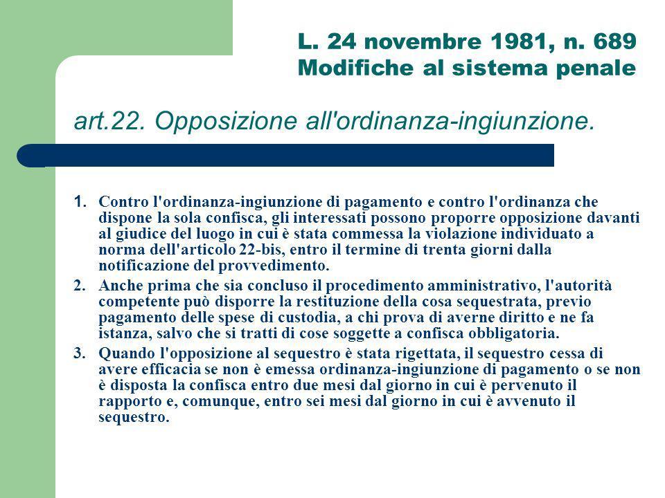 art.22. Opposizione all ordinanza-ingiunzione.