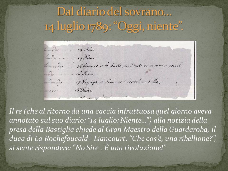 Dal diario del sovrano… 14 luglio 1789: Oggi, niente .