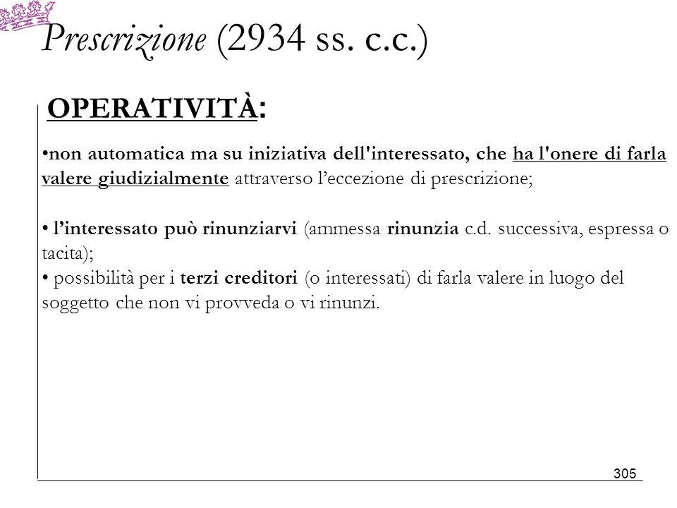 Prescrizione (2934 ss. c.c.) OPERATIVITÀ: