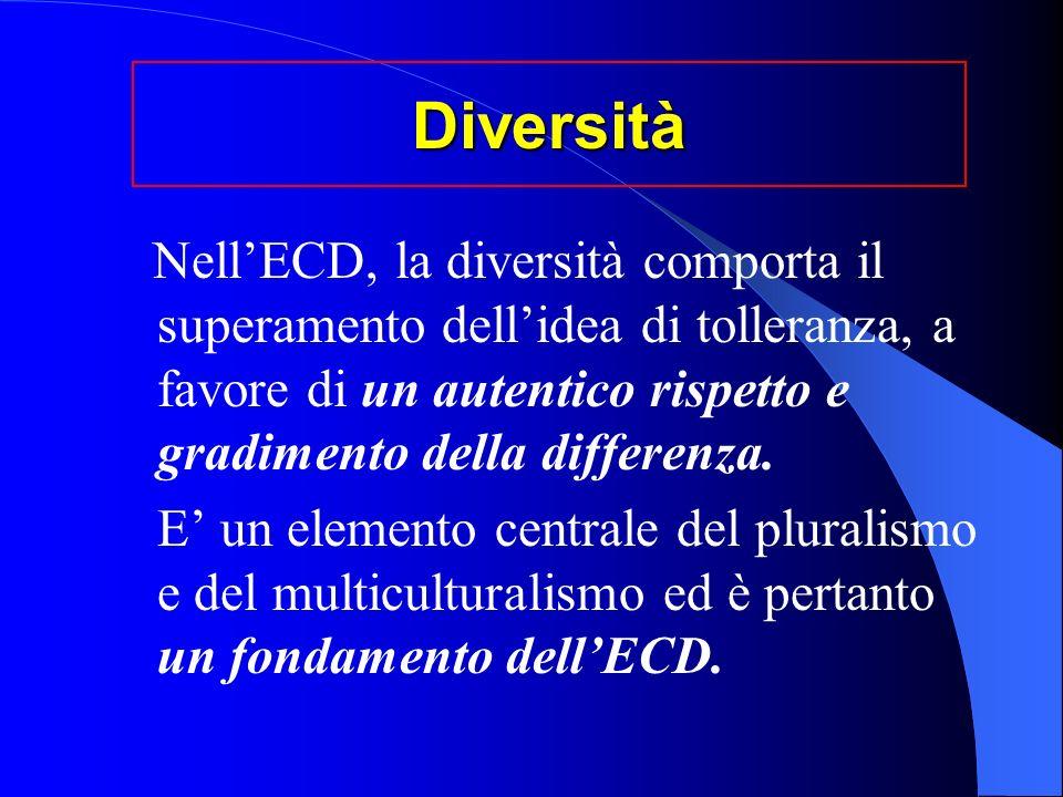 Diversità Nell'ECD, la diversità comporta il superamento dell'idea di tolleranza, a favore di un autentico rispetto e gradimento della differenza.