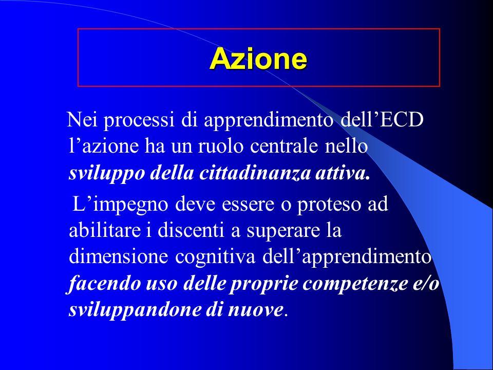 Azione Nei processi di apprendimento dell'ECD l'azione ha un ruolo centrale nello sviluppo della cittadinanza attiva.