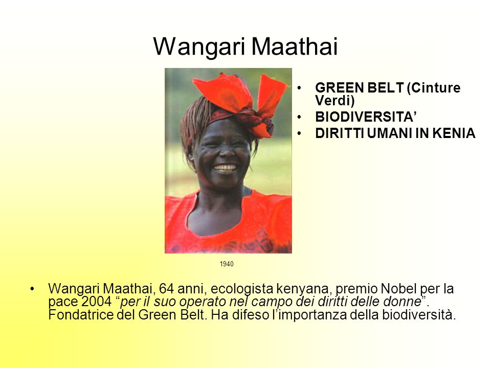 Wangari Maathai GREEN BELT (Cinture Verdi) BIODIVERSITA'