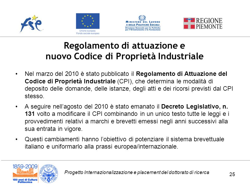 Regolamento di attuazione e nuovo Codice di Proprietà Industriale