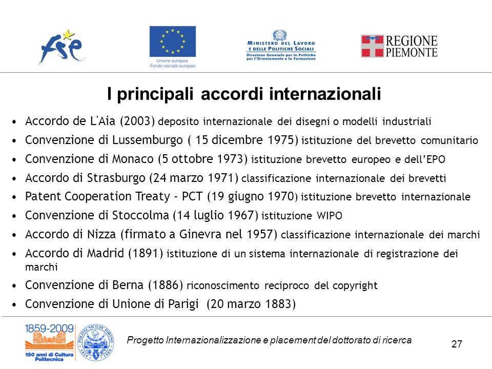 I principali accordi internazionali