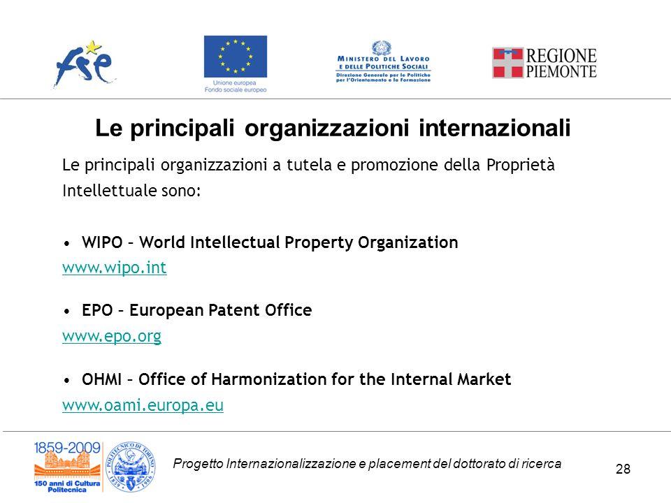 Le principali organizzazioni internazionali