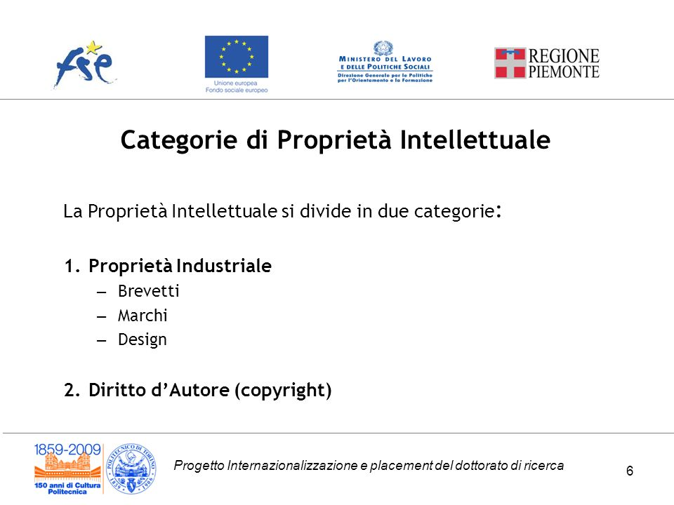Categorie di Proprietà Intellettuale