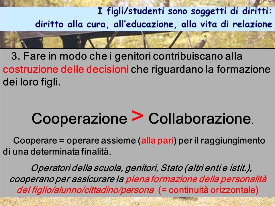 Cooperazione > Collaborazione.
