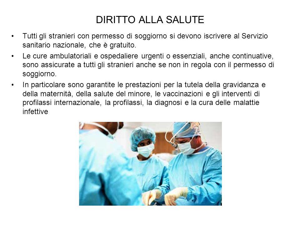 DIRITTO ALLA SALUTE Tutti gli stranieri con permesso di soggiorno si devono iscrivere al Servizio sanitario nazionale, che è gratuito.