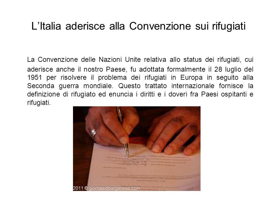 L'Italia aderisce alla Convenzione sui rifugiati
