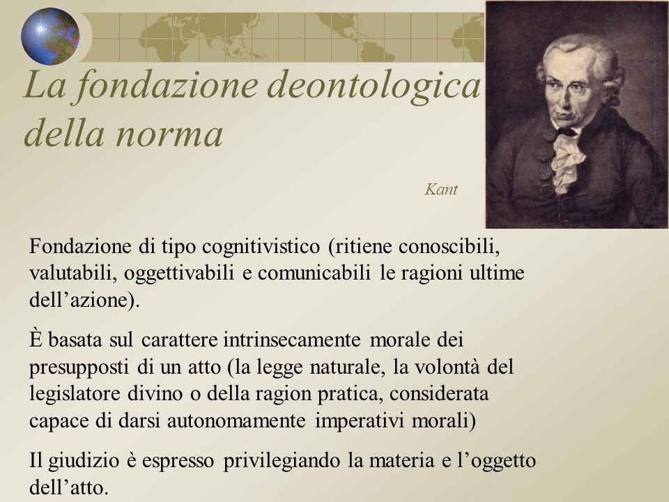 La fondazione deontologica della norma Kant