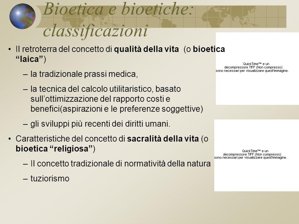 Bioetica e bioetiche: classificazioni