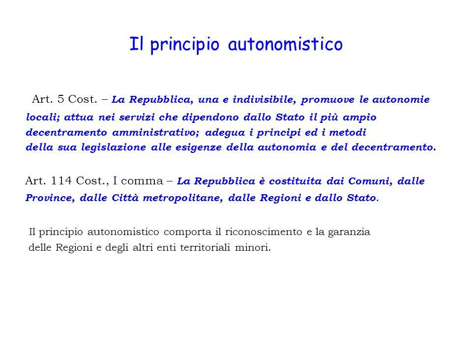 Il principio autonomistico