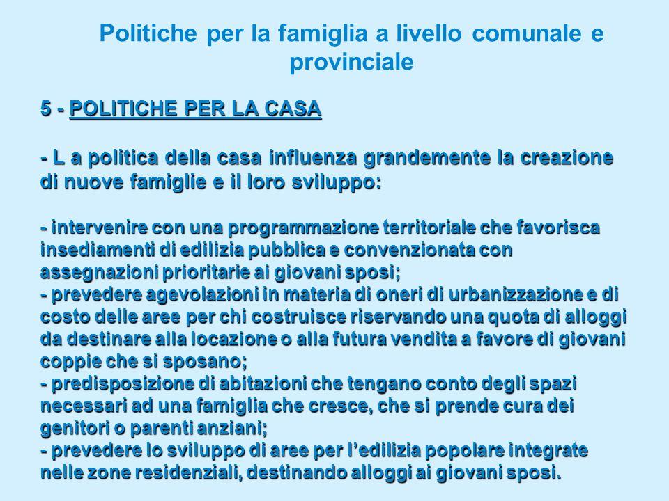 Politiche per la famiglia a livello comunale e provinciale