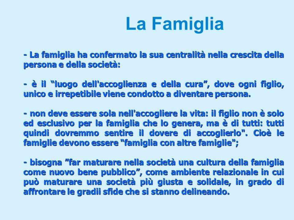 La Famiglia - La famiglia ha confermato la sua centralità nella crescita della persona e della società: