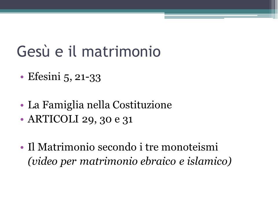 Gesù e il matrimonio Efesini 5, 21-33 La Famiglia nella Costituzione
