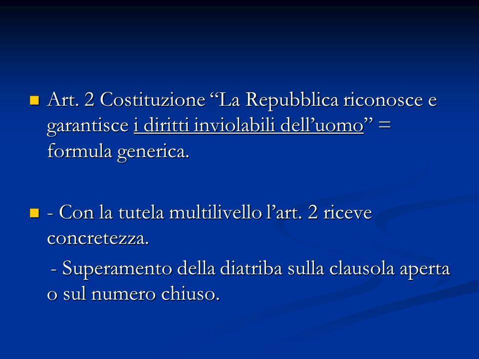 Art. 2 Costituzione La Repubblica riconosce e garantisce i diritti inviolabili dell'uomo = formula generica.