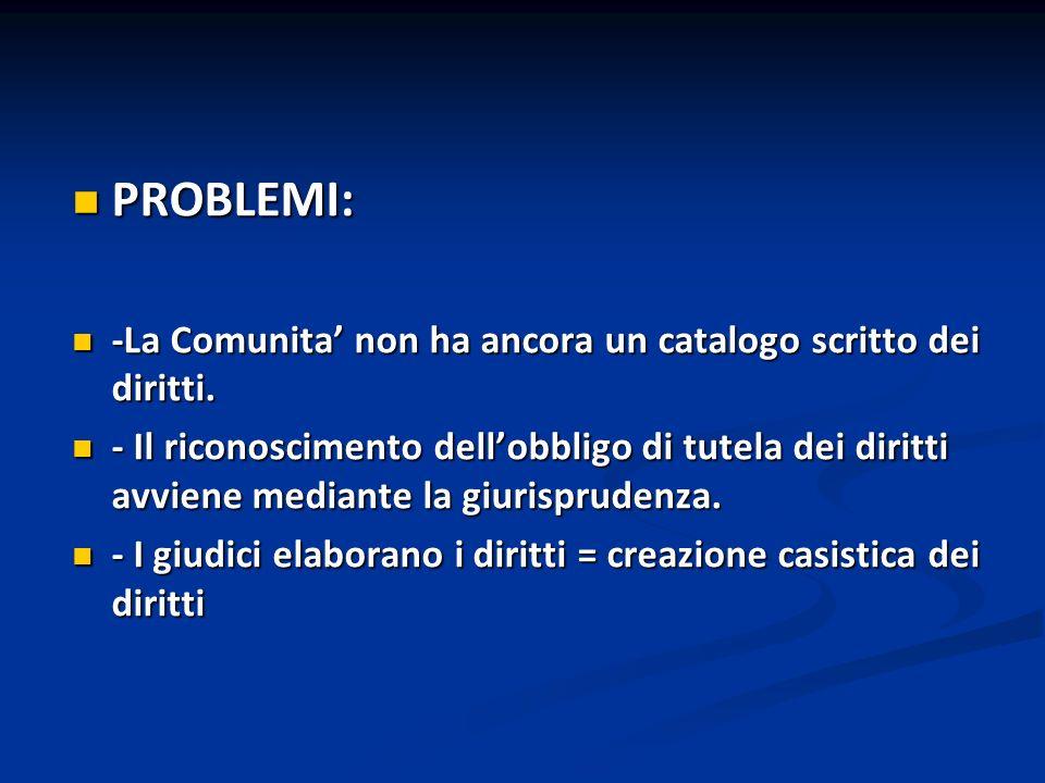 PROBLEMI: -La Comunita' non ha ancora un catalogo scritto dei diritti.
