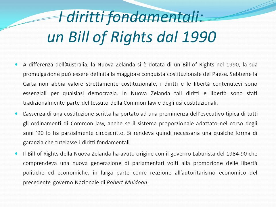 I diritti fondamentali: un Bill of Rights dal 1990