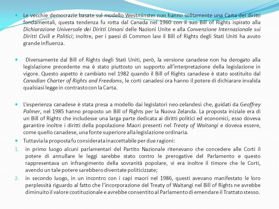 Le vecchie democrazie basate sul modello Westminster non hanno solitamente una Carta dei diritti fondamentali, questa tendenza fu rotta dal Canada nel 1960 con il suo Bill of Rights ispirato alla Dichiarazione Universale dei Diritti Umani delle Nazioni Unite e alla Convenzione Internazionale sui Diritti Civili e Politici; inoltre, per i paesi di Common law il Bill of Rights degli Stati Uniti ha avuto grande influenza.