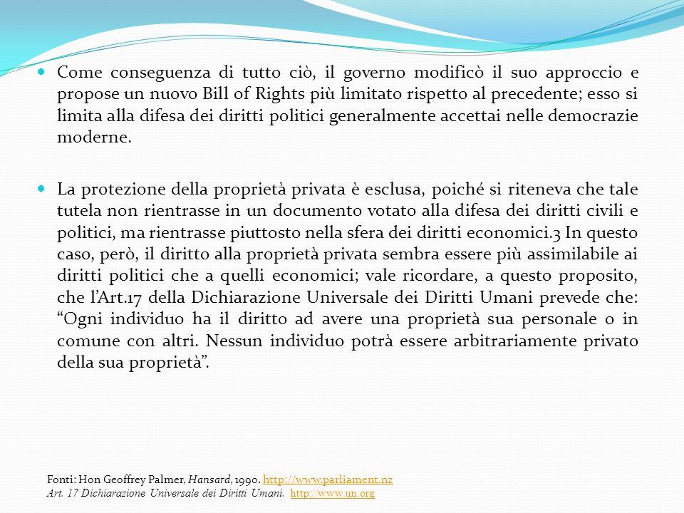 Come conseguenza di tutto ciò, il governo modificò il suo approccio e propose un nuovo Bill of Rights più limitato rispetto al precedente; esso si limita alla difesa dei diritti politici generalmente accettai nelle democrazie moderne.