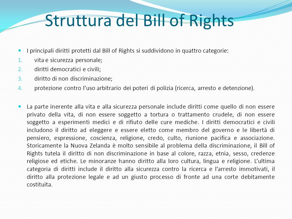 Struttura del Bill of Rights