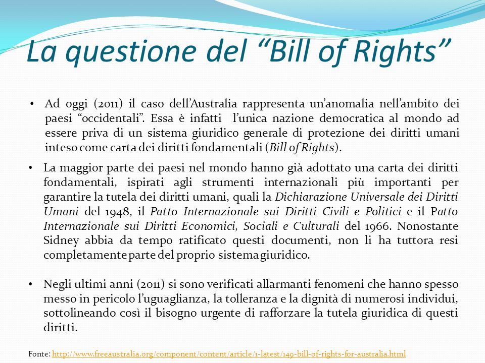 La questione del Bill of Rights