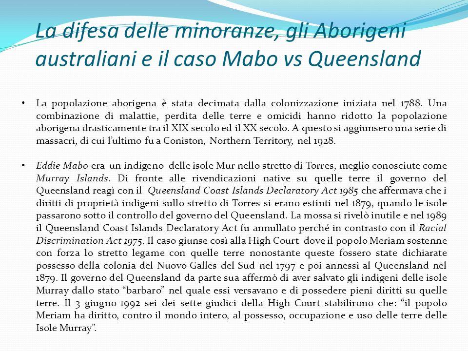 La difesa delle minoranze, gli Aborigeni australiani e il caso Mabo vs Queensland
