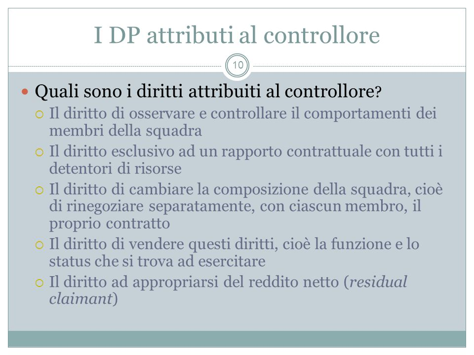 I DP attributi al controllore