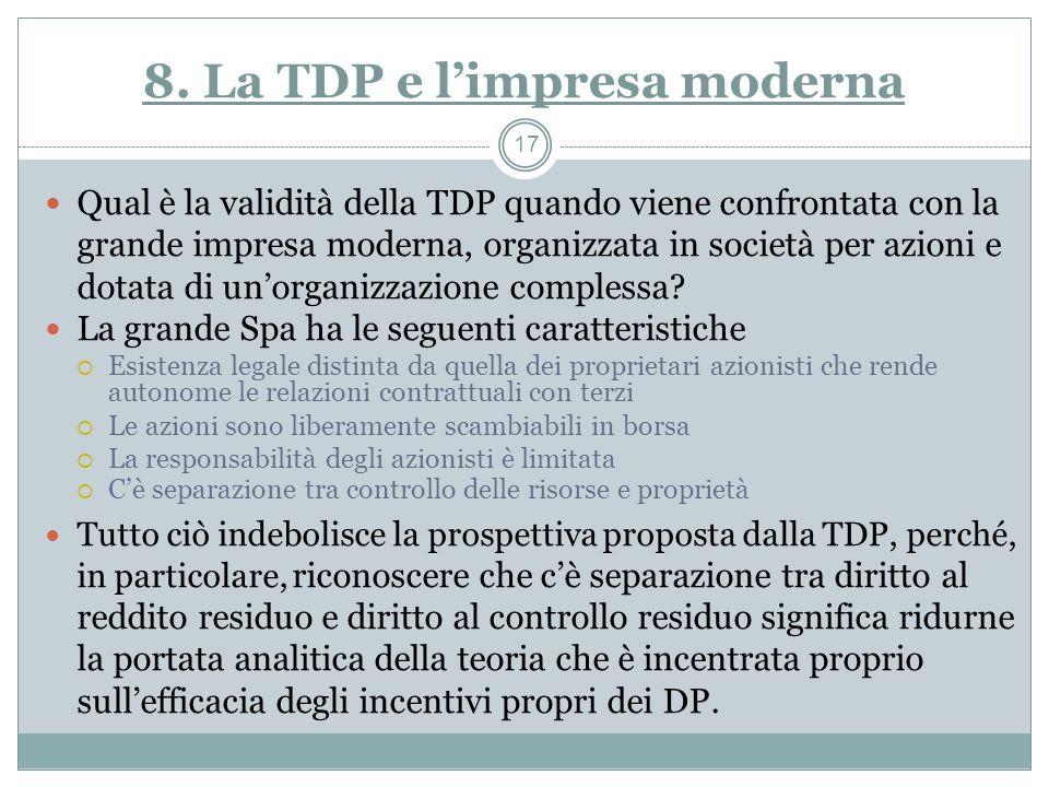 8. La TDP e l'impresa moderna