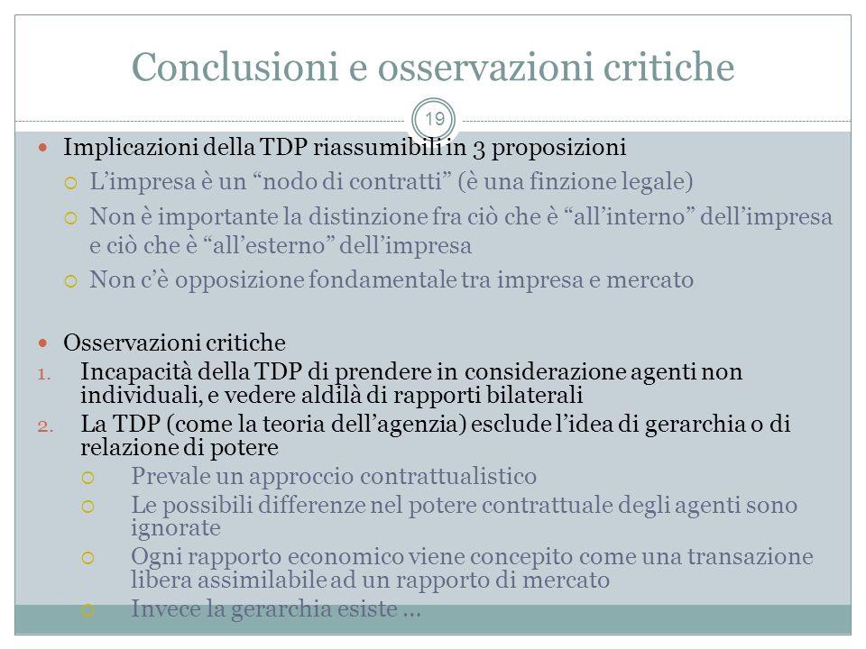 Conclusioni e osservazioni critiche