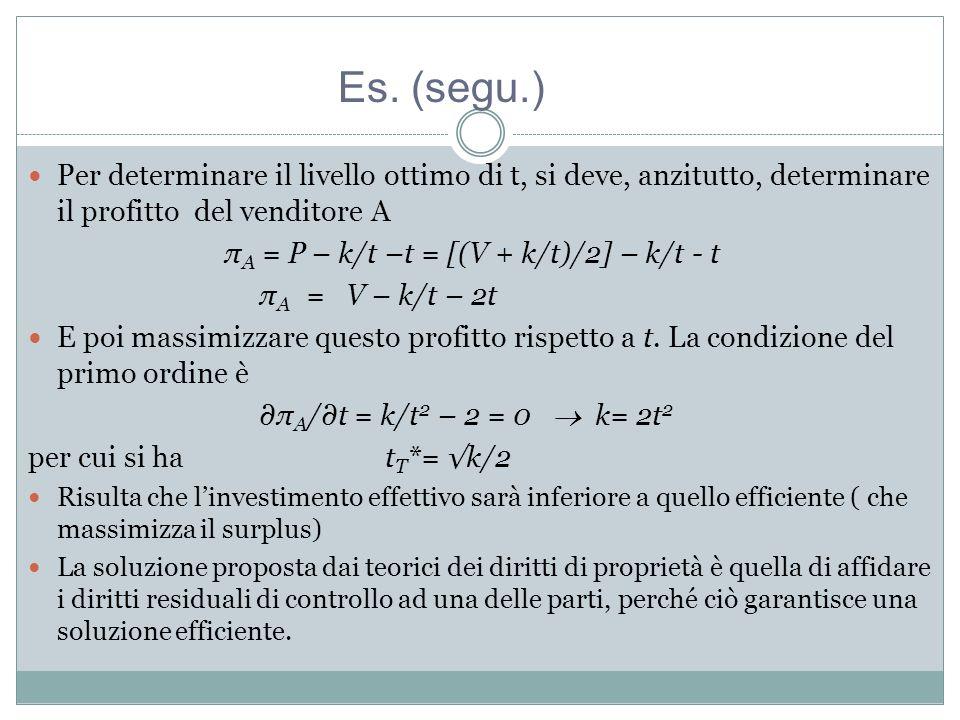 Es. (segu.) Per determinare il livello ottimo di t, si deve, anzitutto, determinare il profitto del venditore A.