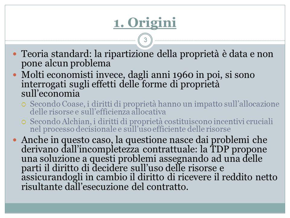 1. Origini Teoria standard: la ripartizione della proprietà è data e non pone alcun problema.