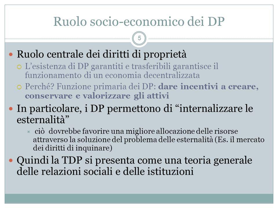 Ruolo socio-economico dei DP