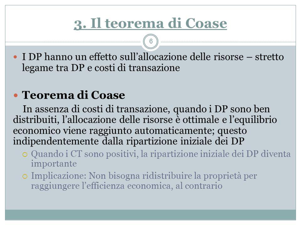 3. Il teorema di Coase Teorema di Coase
