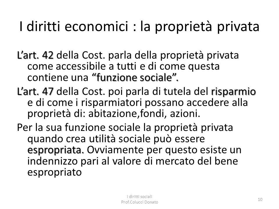 I diritti economici : la proprietà privata