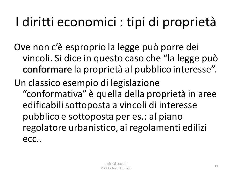 I diritti economici : tipi di proprietà