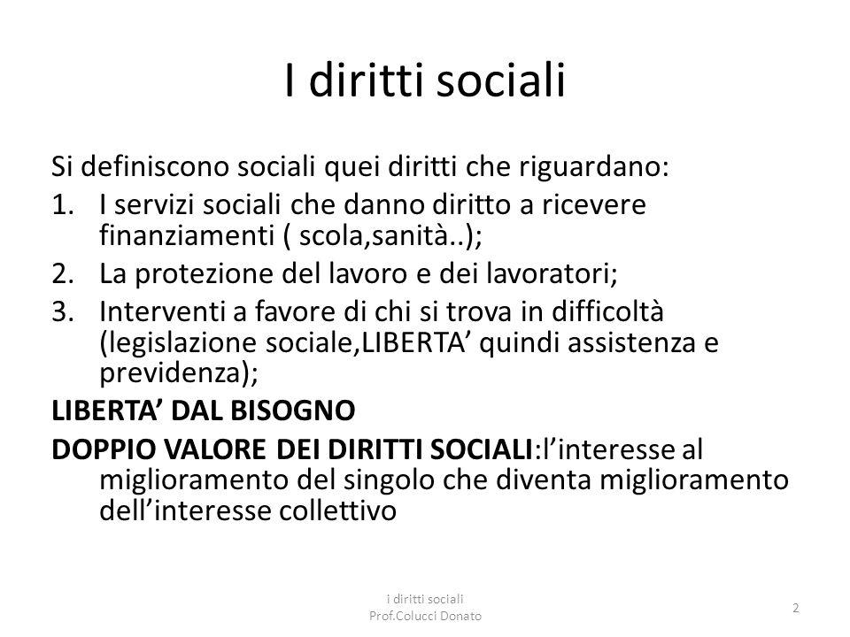 i diritti sociali Prof.Colucci Donato