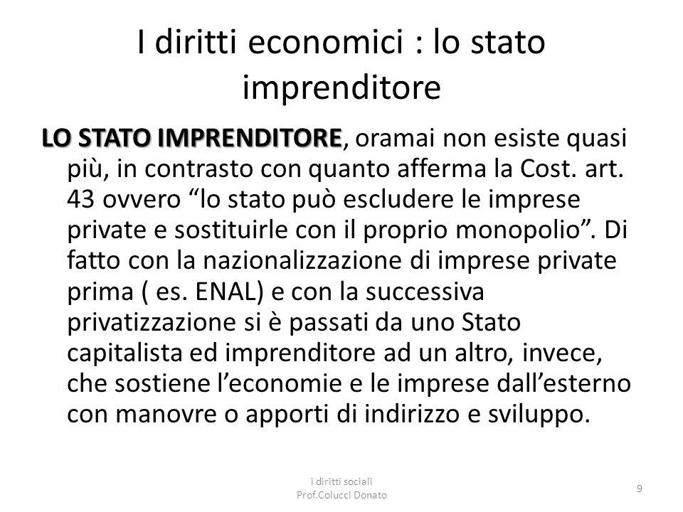 I diritti economici : lo stato imprenditore