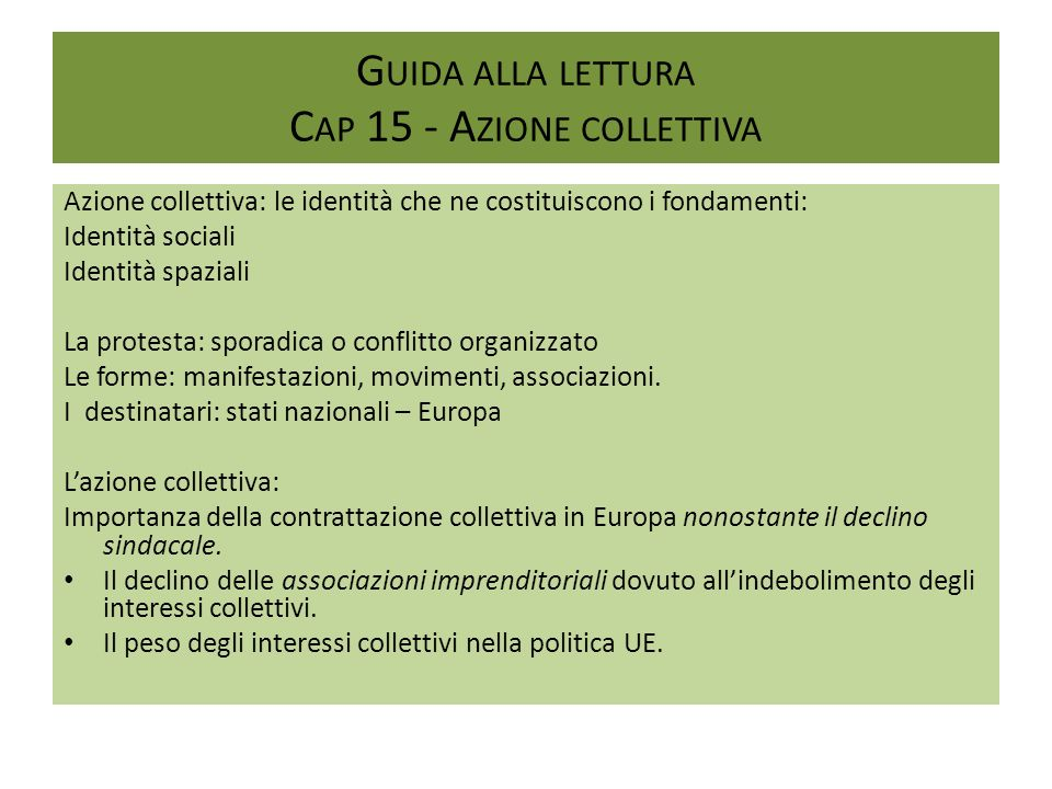 Guida alla lettura Cap 15 - Azione collettiva