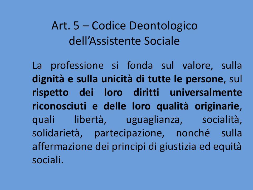 Art. 5 – Codice Deontologico dell'Assistente Sociale