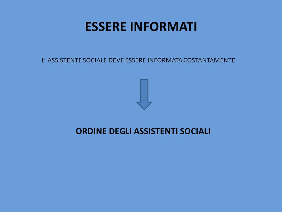 ESSERE INFORMATI L' ASSISTENTE SOCIALE DEVE ESSERE INFORMATA COSTANTAMENTE.