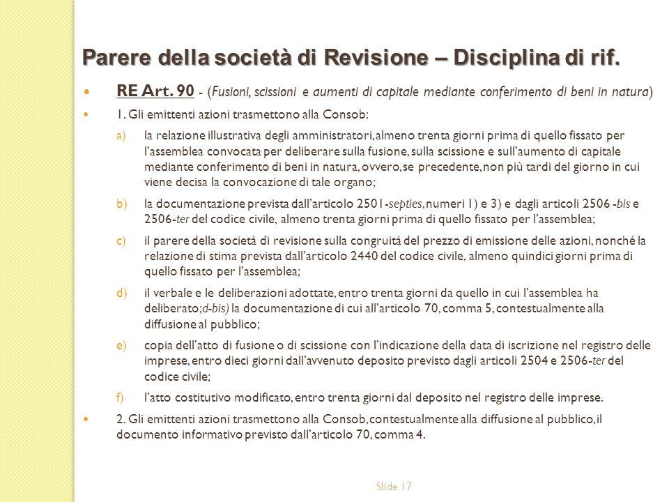 Parere della società di Revisione – Disciplina di rif.