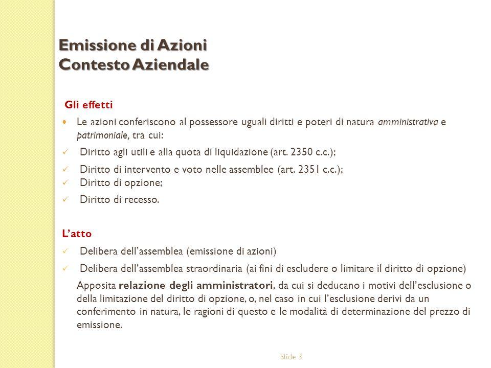 Emissione di Azioni Contesto Aziendale