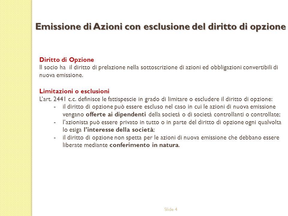 Emissione di Azioni con esclusione del diritto di opzione