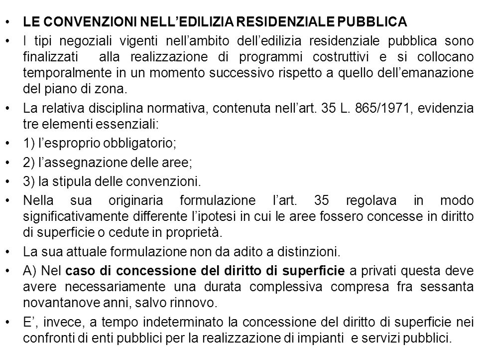 LE CONVENZIONI NELL'EDILIZIA RESIDENZIALE PUBBLICA