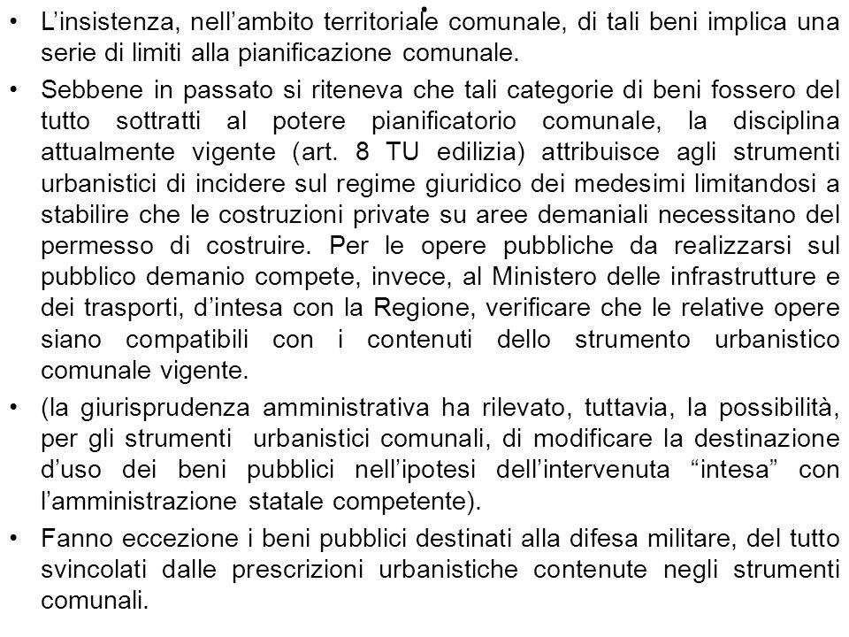 L'insistenza, nell'ambito territoriale comunale, di tali beni implica una serie di limiti alla pianificazione comunale.