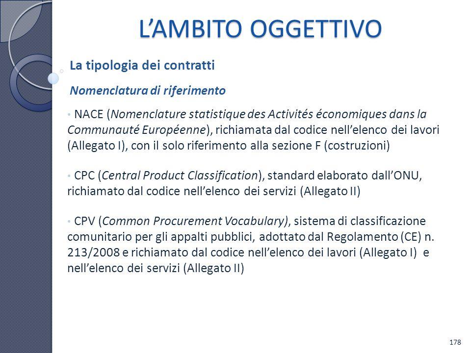 L'AMBITO OGGETTIVO La tipologia dei contratti