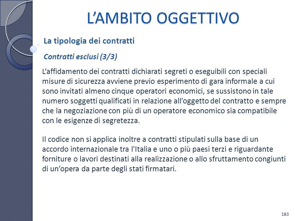 L'AMBITO OGGETTIVO La tipologia dei contratti Contratti esclusi (3/3)