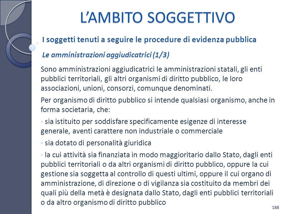 L'AMBITO SOGGETTIVO I soggetti tenuti a seguire le procedure di evidenza pubblica. Le amministrazioni aggiudicatrici (1/3)