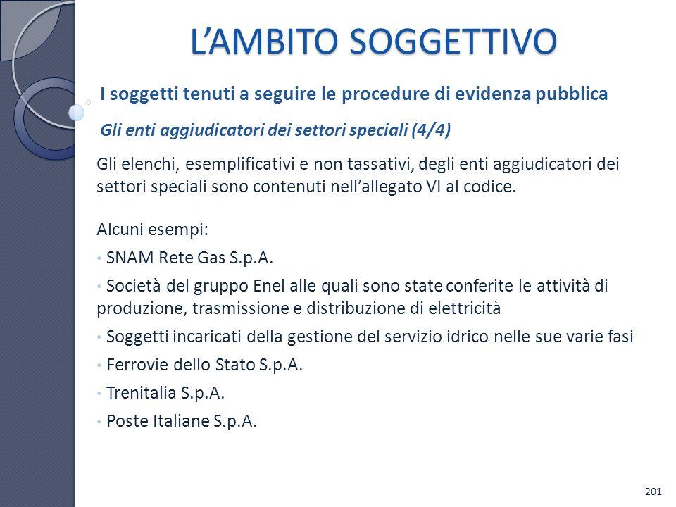 L'AMBITO SOGGETTIVO I soggetti tenuti a seguire le procedure di evidenza pubblica. Gli enti aggiudicatori dei settori speciali (4/4)
